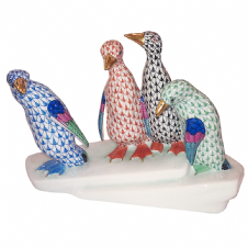 Herend Porcelain Fishnet Figurine of a Group of Penguins